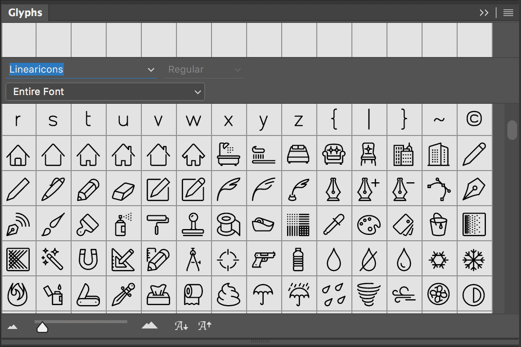 Glyphs Window in Photoshop